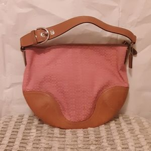 Coach Purse. Pink w/ Brown Accents.